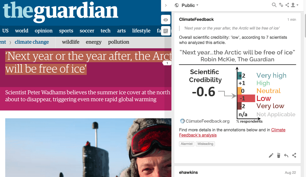 """Analysis of """"Next year or the year after, the Arctic will be free of ice"""""""