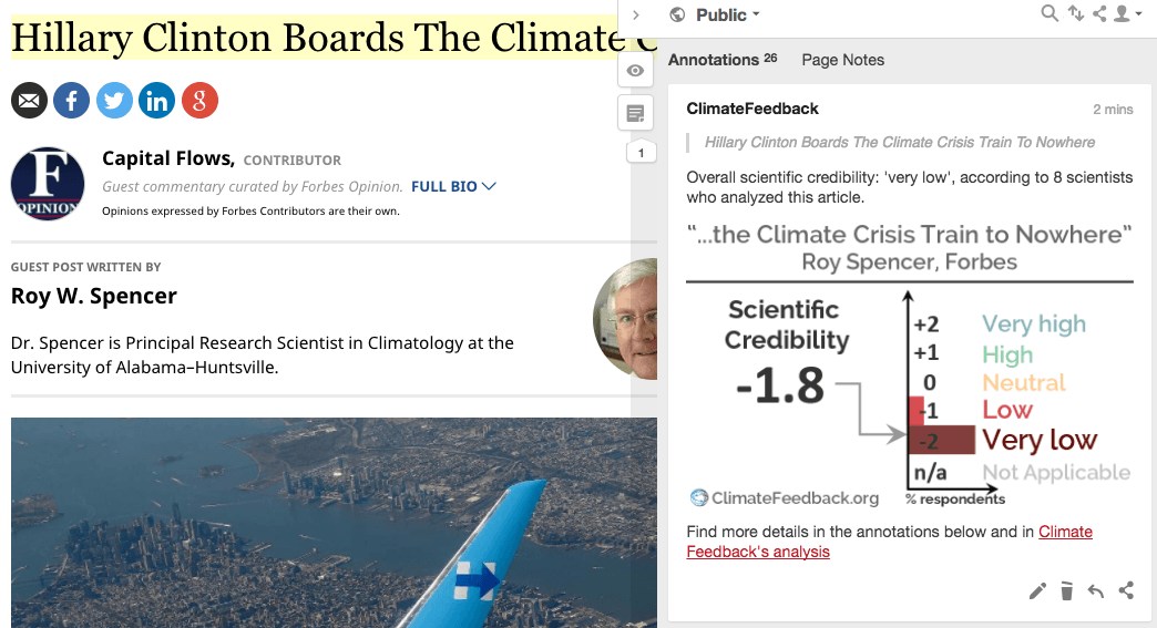 "Analysis of ""Hillary Clinton Boards The Climate Crisis Train To"