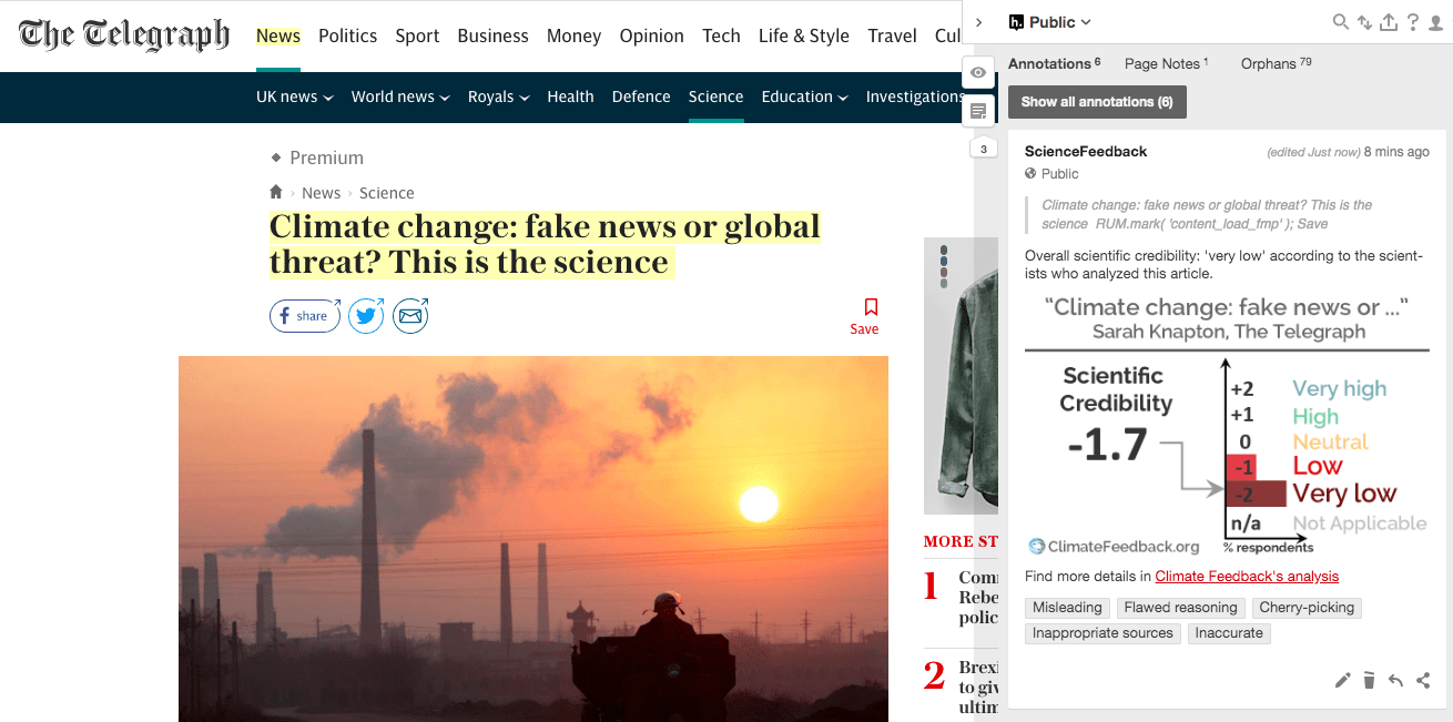 Telegraph article on climate change mixes accurate and unsupported, inaccurate claims, misleads with false balance